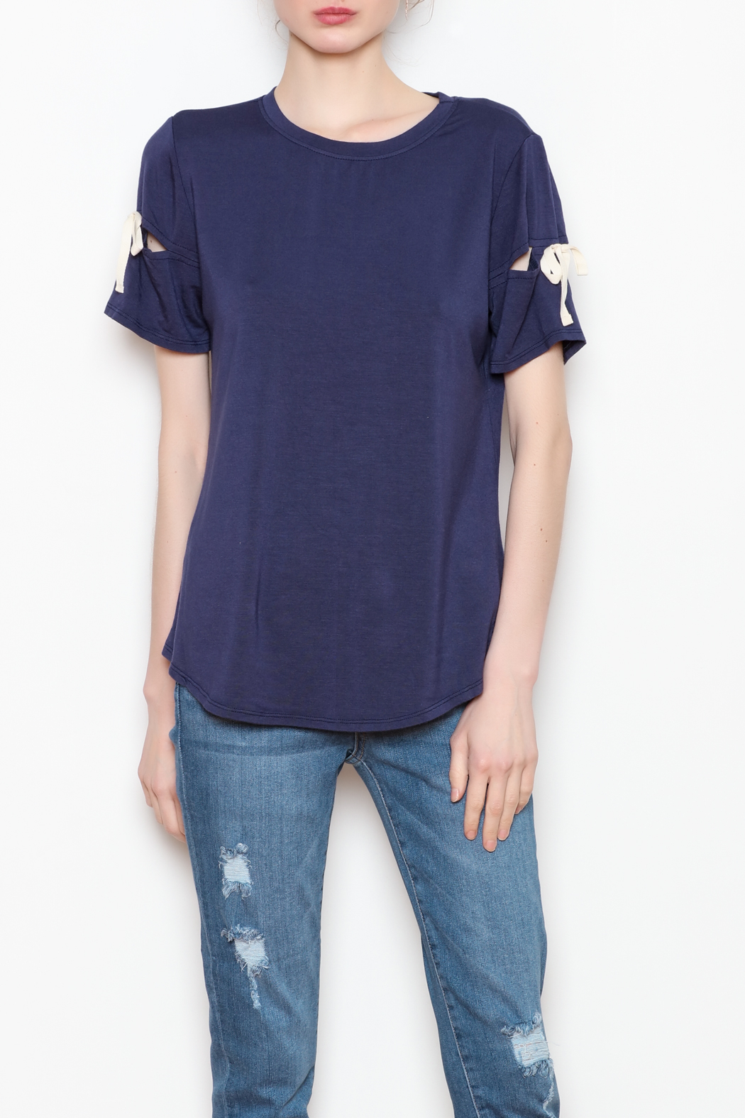 Milla Ribbon Sleeve Tee - Front Cropped Image