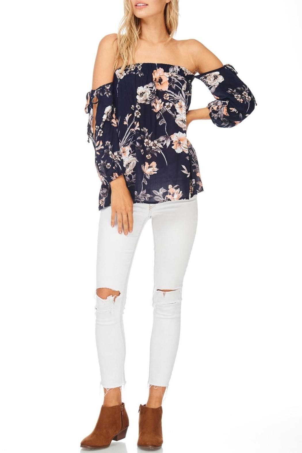 Millibon Floral Cold Shoulder Top - Front Cropped Image