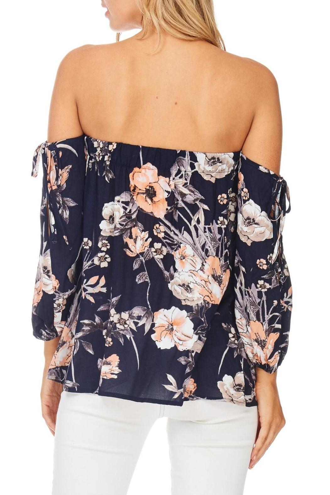 Millibon Floral Cold Shoulder Top - Back Cropped Image