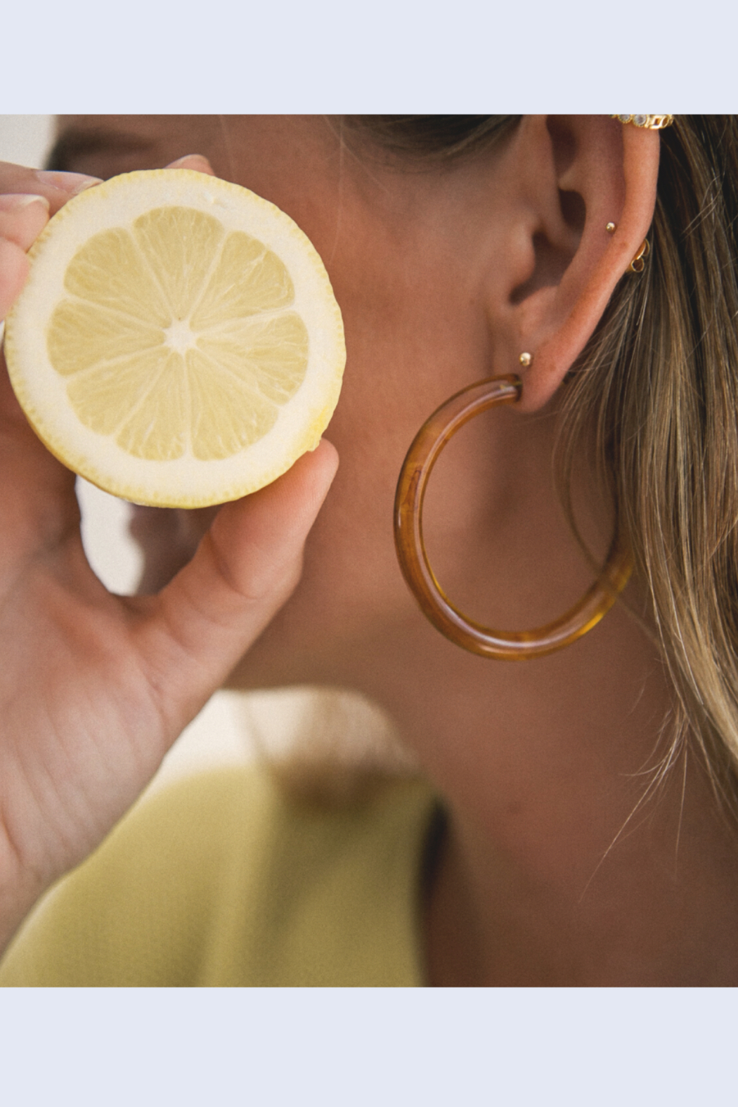 Nat + Noor Milo Hoops In Amber - Main Image