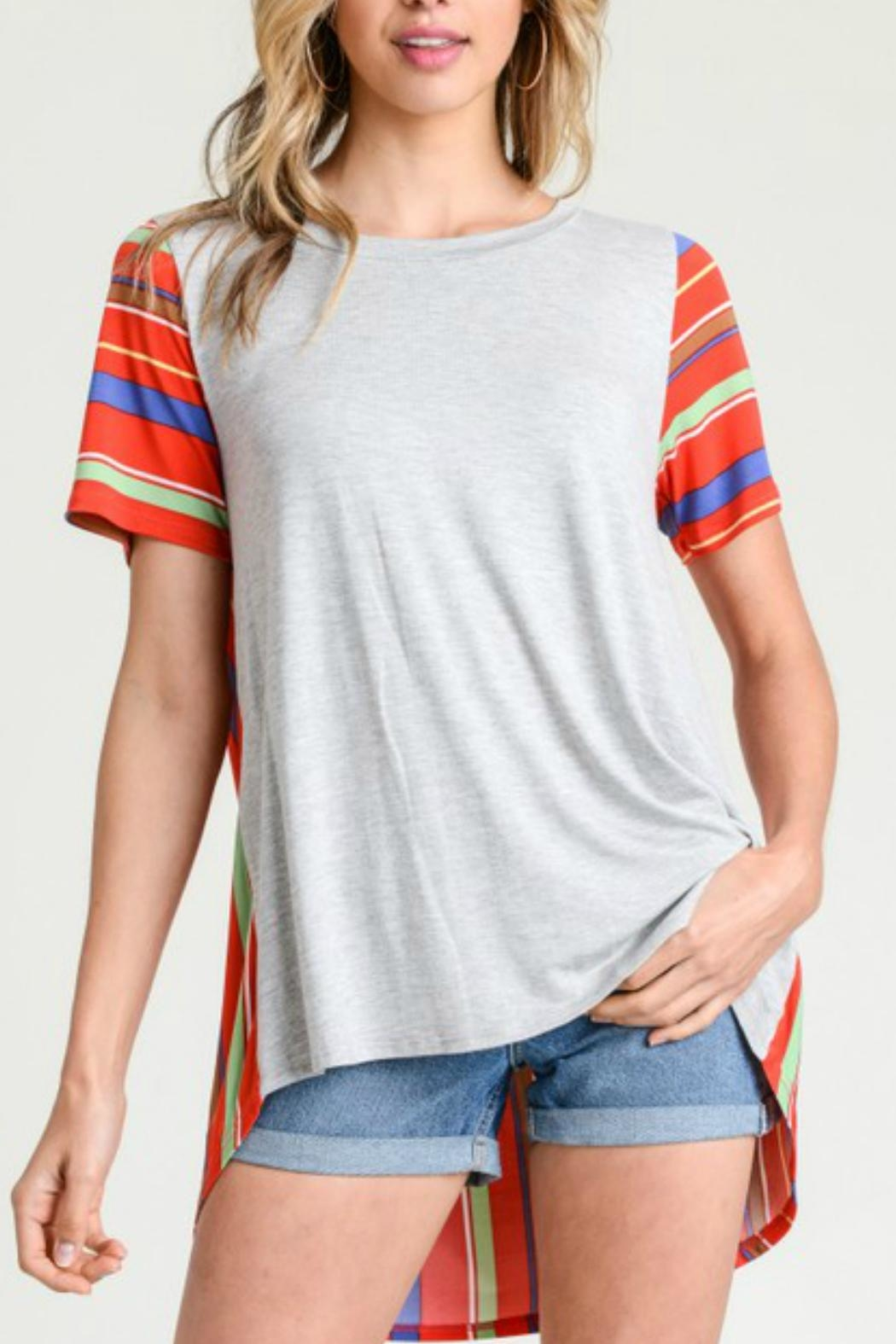 Jodifl Miltifabric Striped Top - Front Full Image