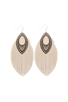 Mimi's Gift Gallery Beige Leather Earrings - Alternate List Image