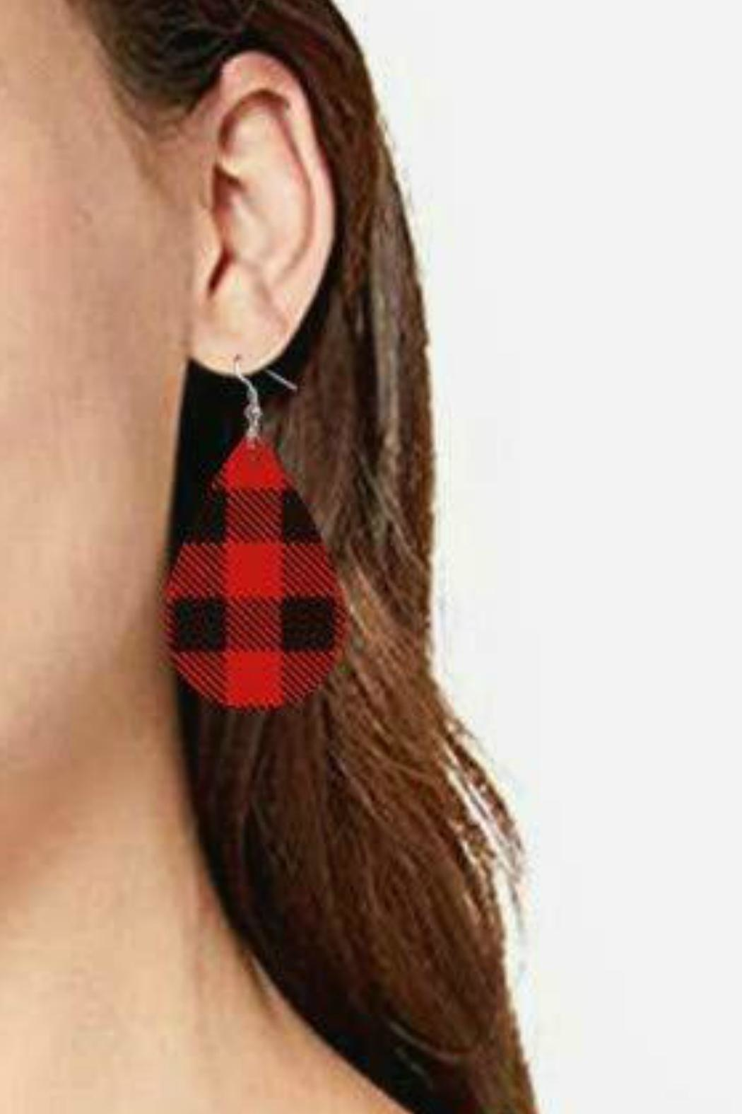 Mimi's Gift Gallery Buffalo Plaid Earrings - Front Full Image