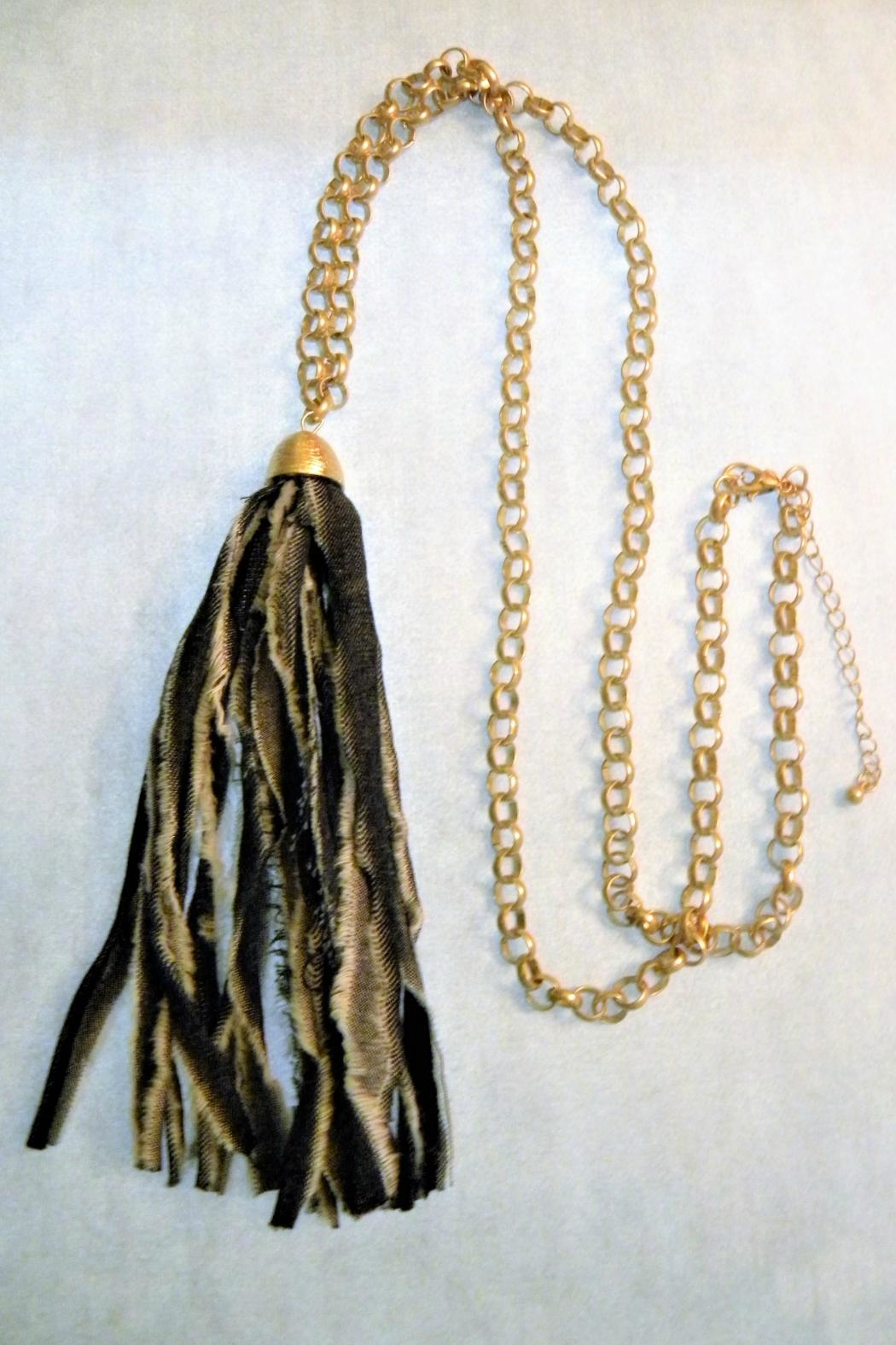 Mimi's Gift Gallery Denim Fabric Tassel Necklace - Front Cropped Image
