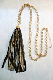 Mimi's Gift Gallery Denim Fabric Tassel Necklace - Front cropped