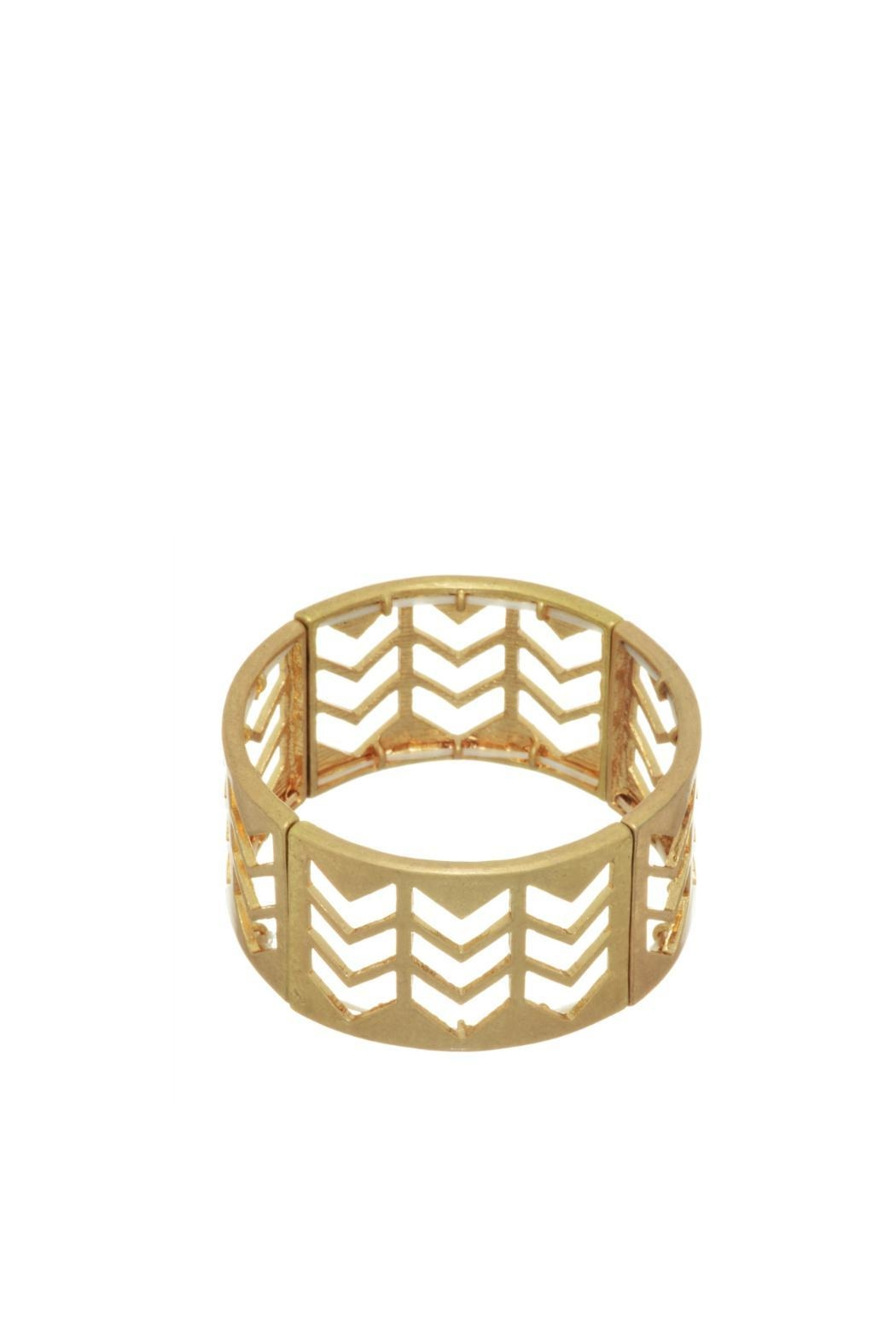 Mimi's Gift Gallery Gold Chevron Bracelet - Front Cropped Image
