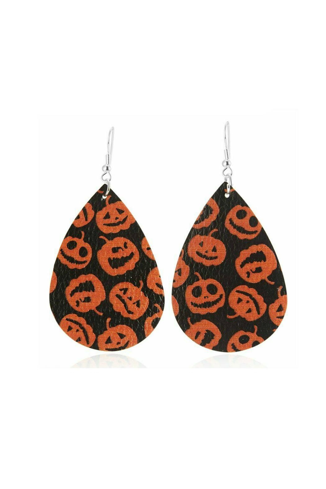 Mimi's Gift Gallery Halloween Vegan Leather Earrings - Front Cropped Image