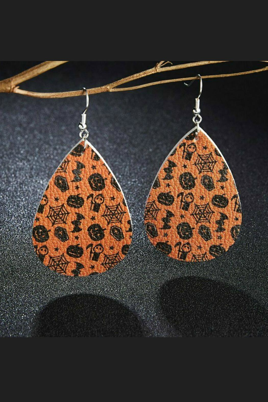 Mimi's Gift Gallery Halloween Vegan Leather Earrings - Side Cropped Image