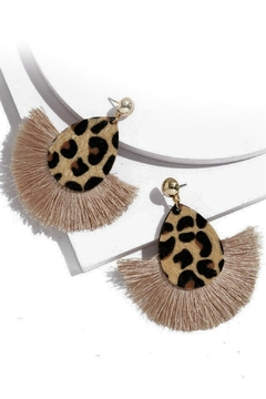 Mimi's Gift Gallery Leopard Fringe Earrings - Product List Image
