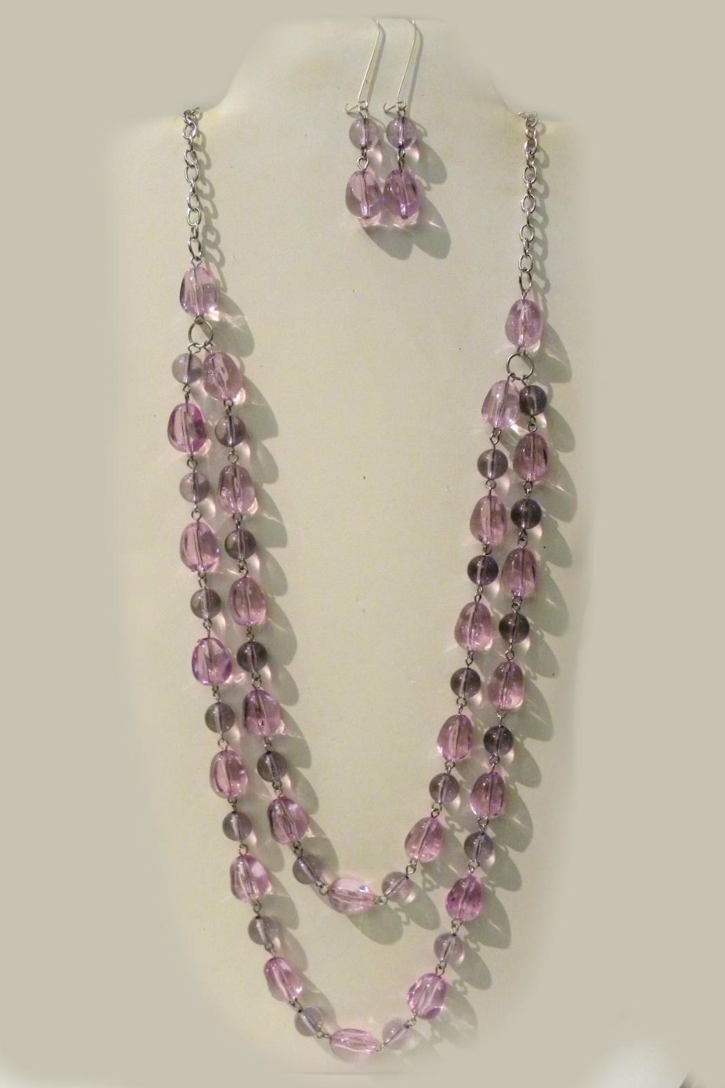 Mimi's Gift Gallery Lilac Beaded Necklace-Set - Main Image