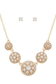 Mimi's Gift Gallery Pearls Rhinestone Necklace-Earrings - Product Mini Image