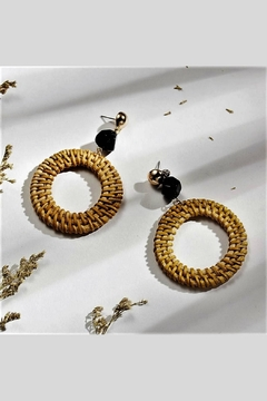 Mimi's Gift Gallery Rattan Black Earrings - Product List Image