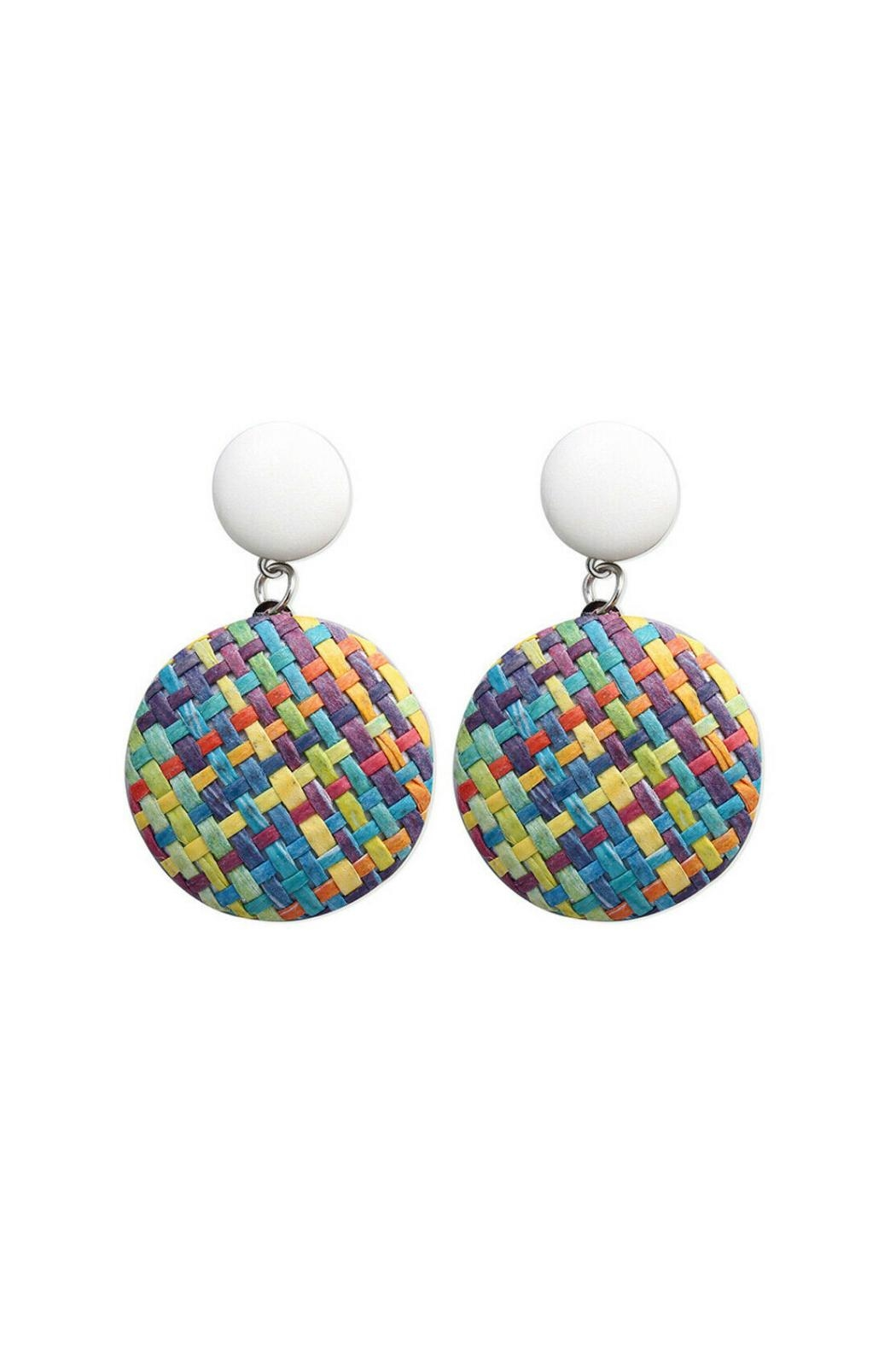 Mimi's Gift Gallery Rattan Multicolor Earrings - Front Cropped Image