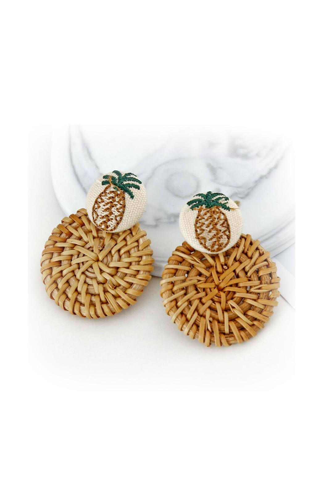 Mimi's Gift Gallery Rattan Pineapple Earrings - Main Image