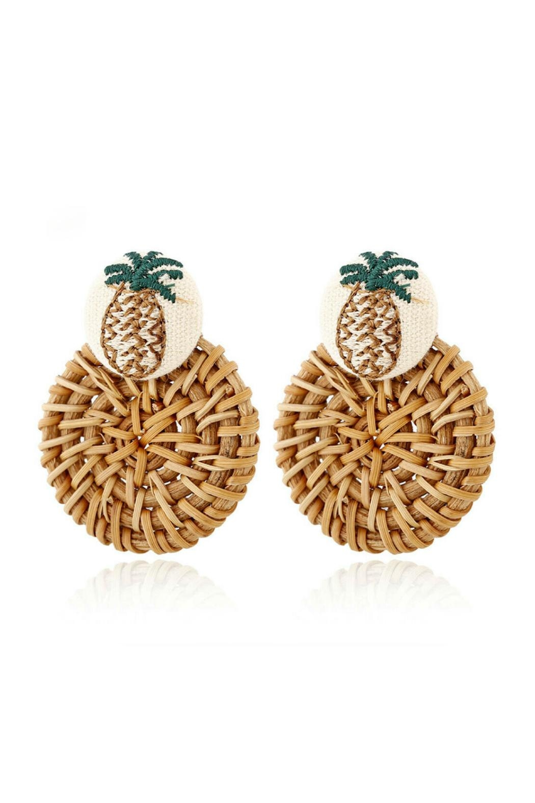 Mimi's Gift Gallery Rattan Pineapple Earrings - Front Full Image