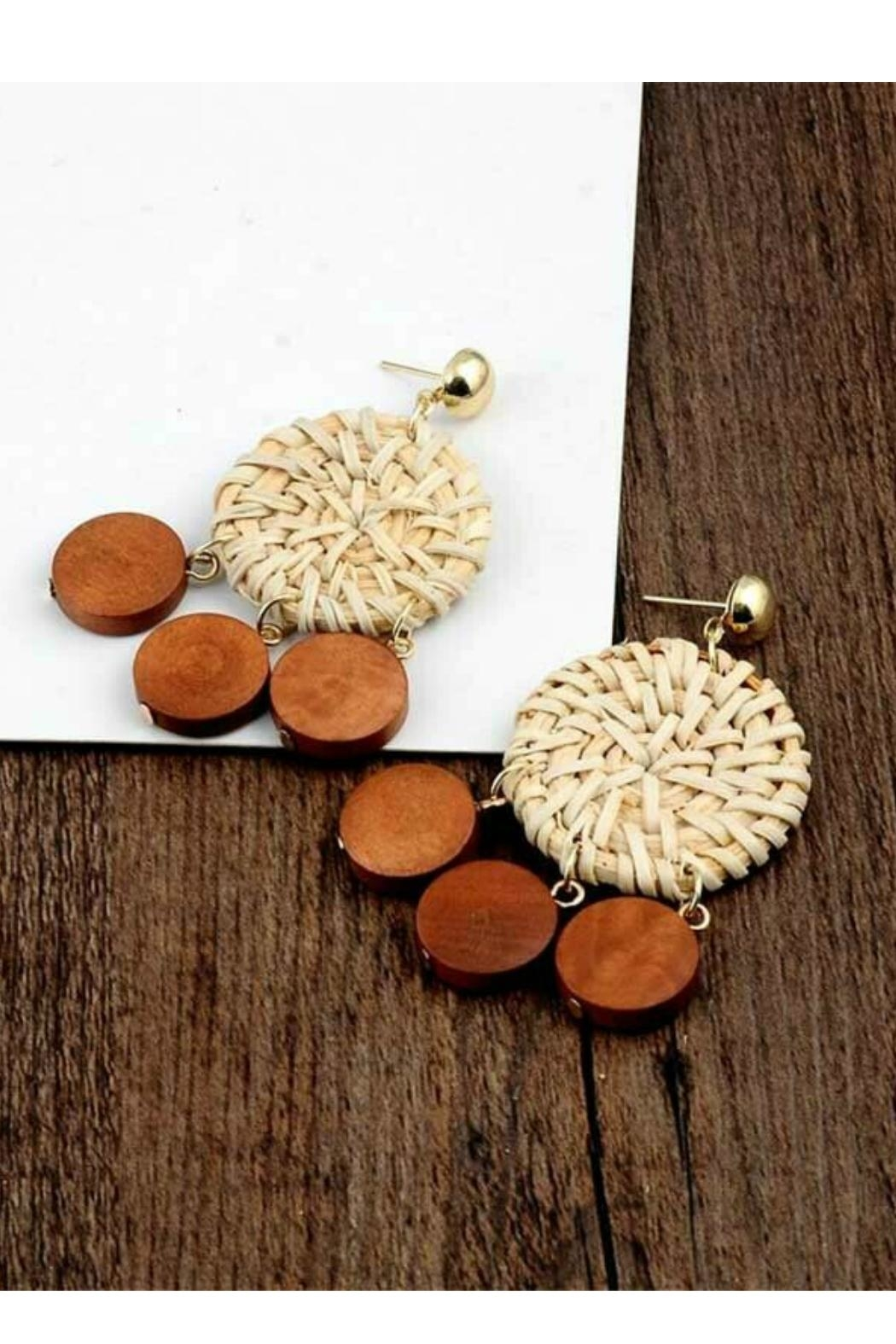 Mimi's Gift Gallery Rattan & Wood Earrings - Front Full Image