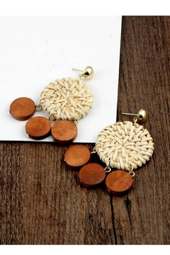 Mimi's Gift Gallery Rattan & Wood Earrings - Alternate List Image