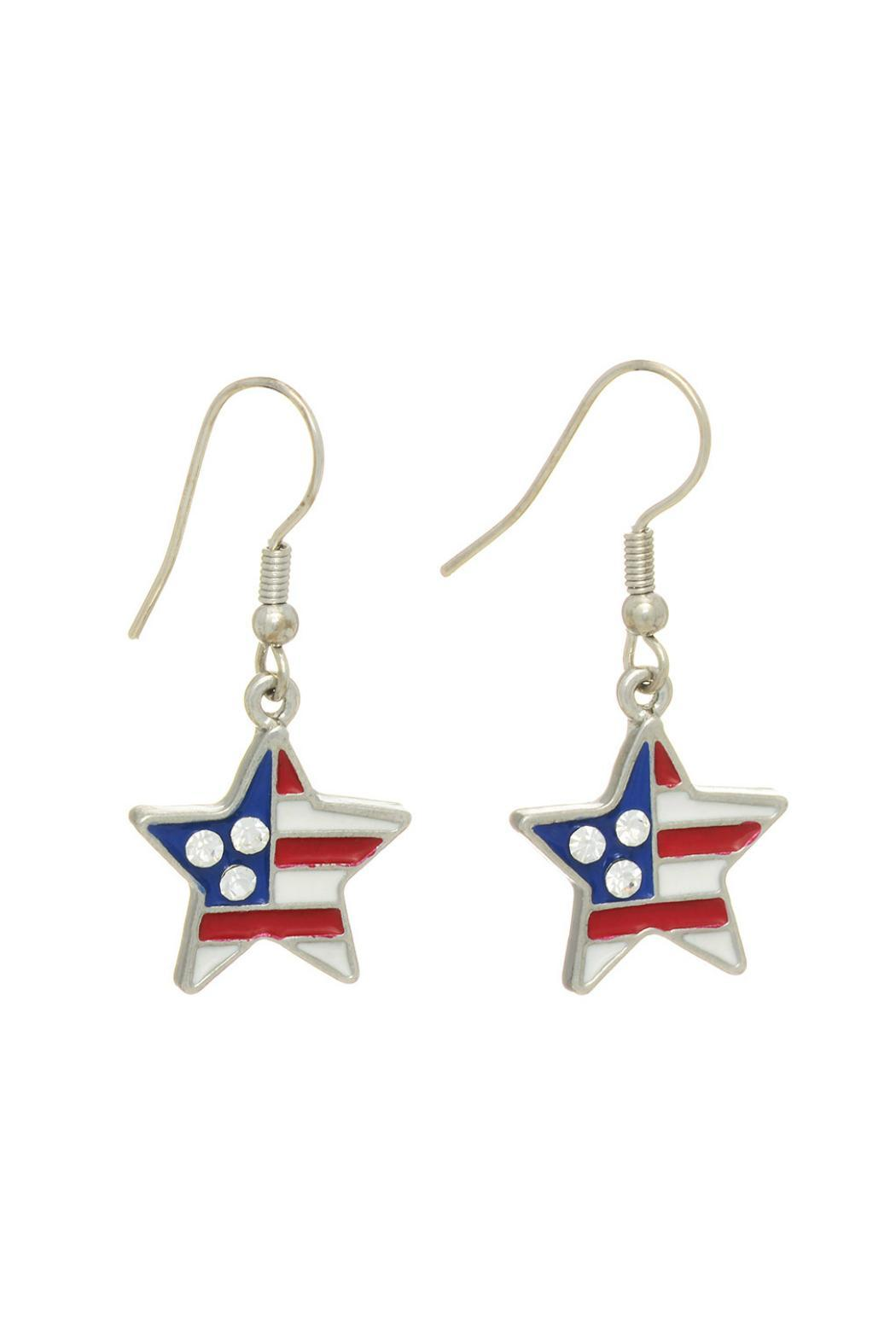 Mimi's Gift Gallery Star Patriotic Earrings - Front Cropped Image