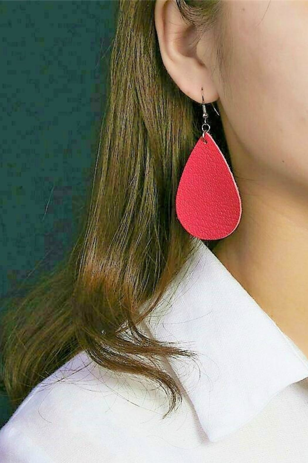 Mimi's Gift Gallery Vegan Leather Earrings - Front Full Image