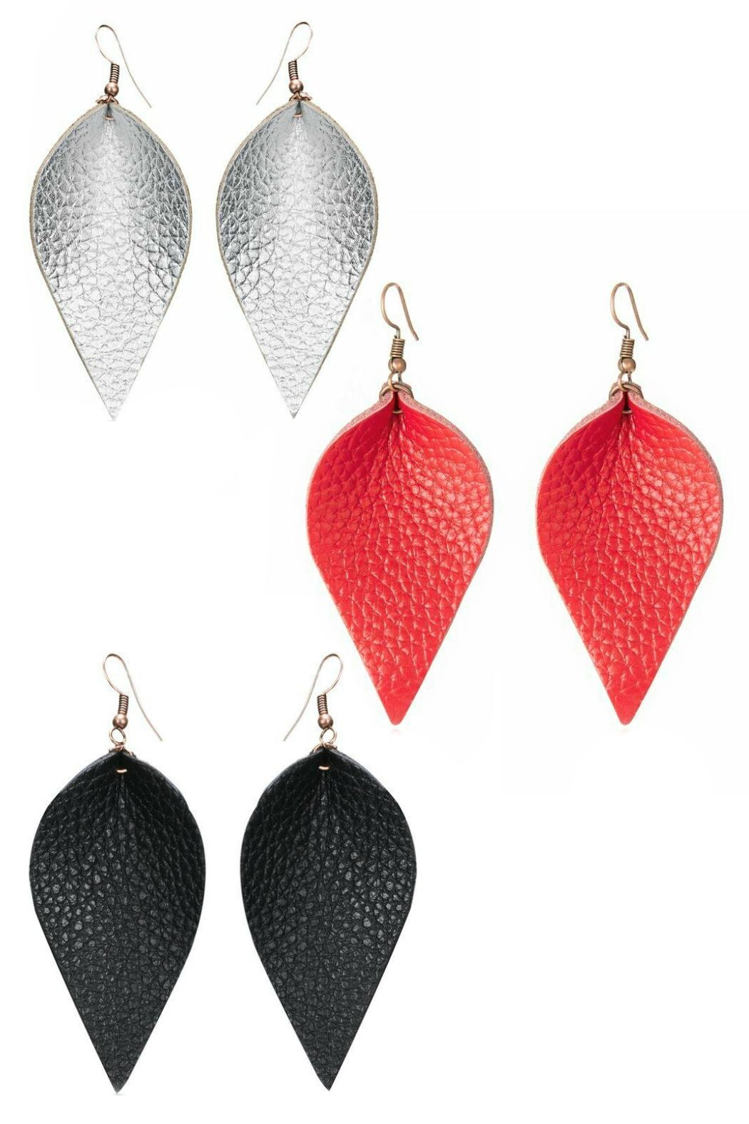 Mimi's Gift Gallery Vegan Leather Leaf-Earrings - Main Image