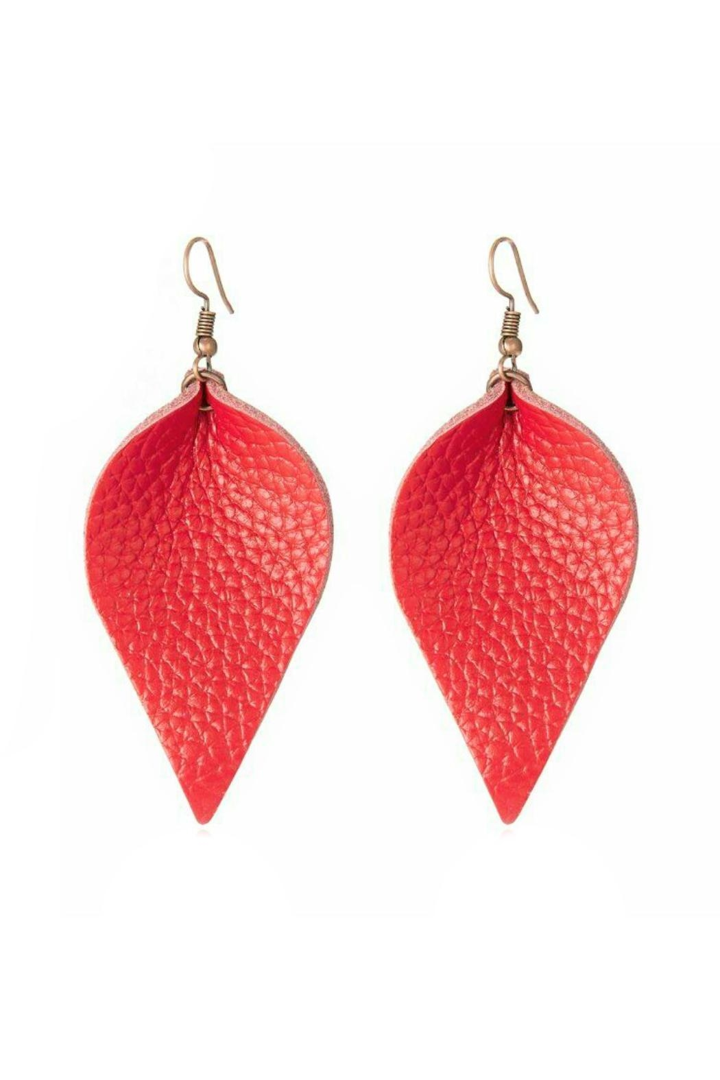 Mimi's Gift Gallery Vegan Leather Leaf-Earrings - Front Cropped Image