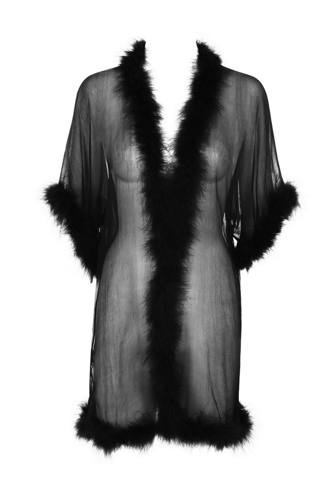 Mimi Holliday Silk Maribou Robe - Side Cropped Image