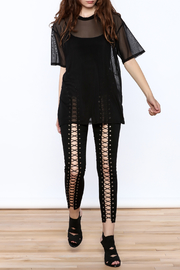 Shoptiques Product: Black Mesh Tee - Front full body