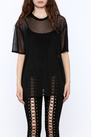 Shoptiques Product: Black Mesh Tee - Side cropped