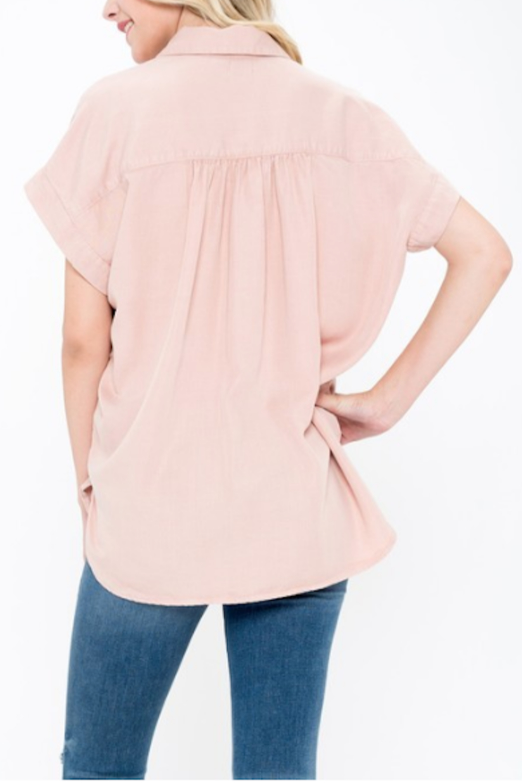 Sneak Peek Mindy High Low Button Up - Front Full Image