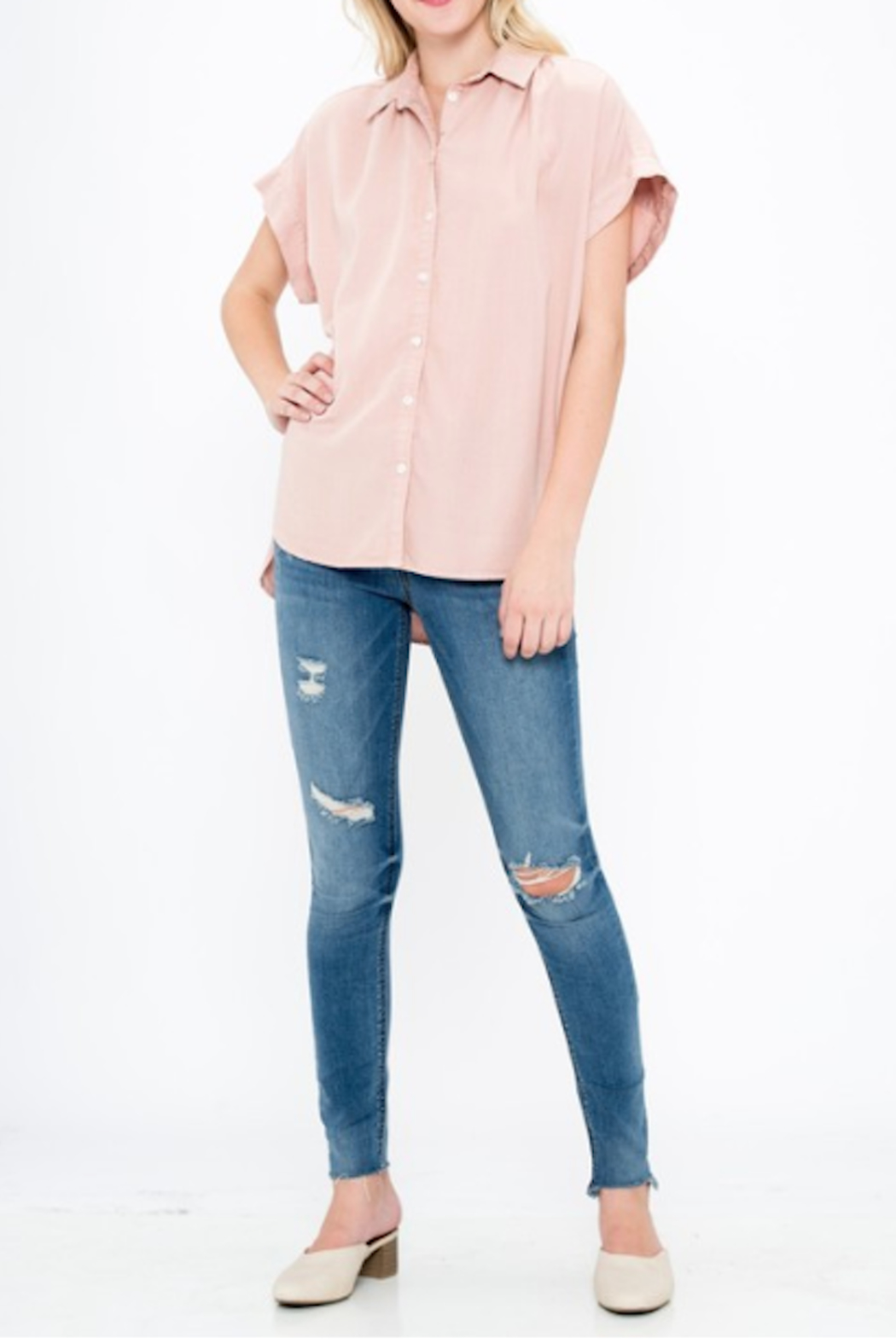 Sneak Peek Mindy High Low Button Up - Front Cropped Image