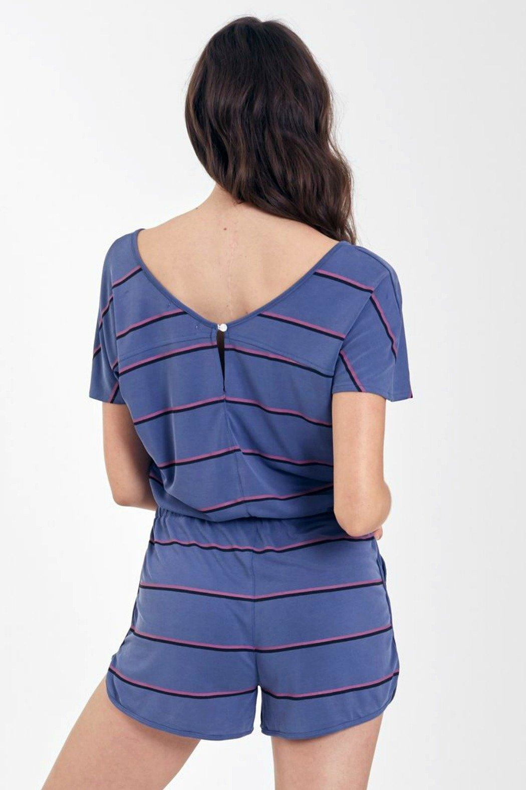 Another Love Mindy Striped Romper - Back Cropped Image