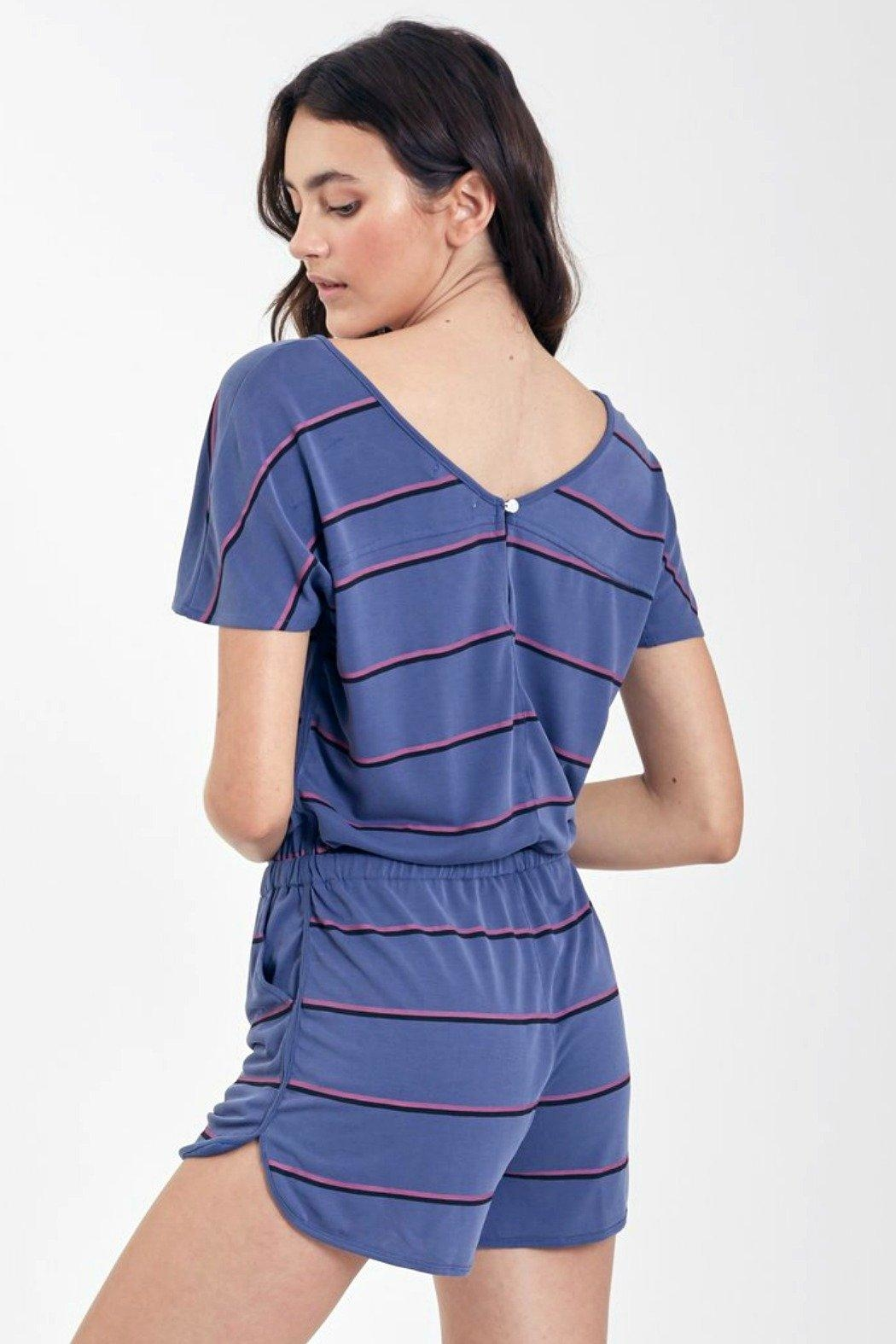 Another Love Mindy Striped Romper - Front Full Image