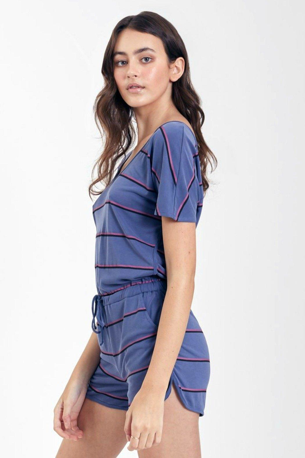 Another Love Mindy Striped Romper - Side Cropped Image