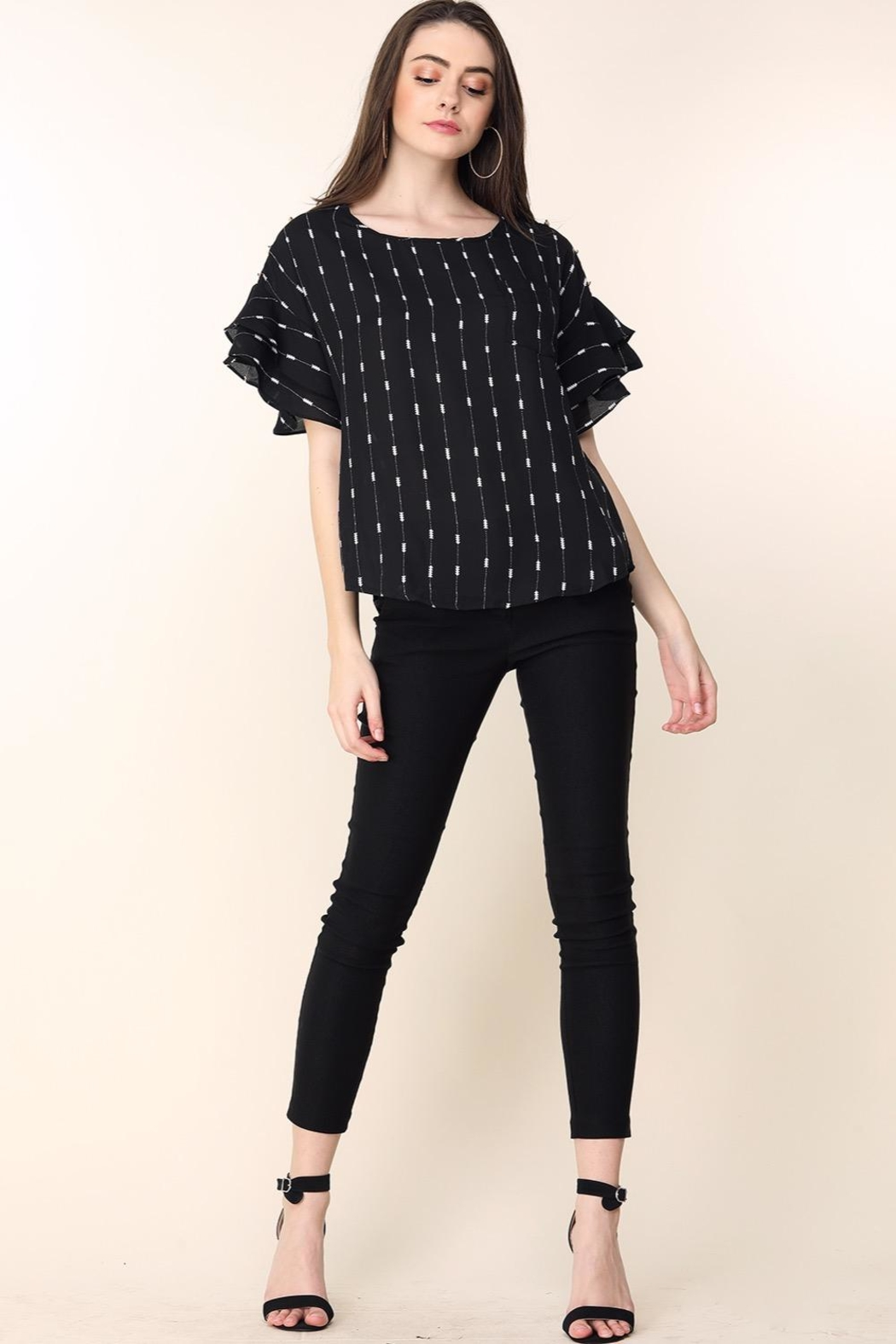 Mine Black Arrow Stripes Blouse - Side Cropped Image