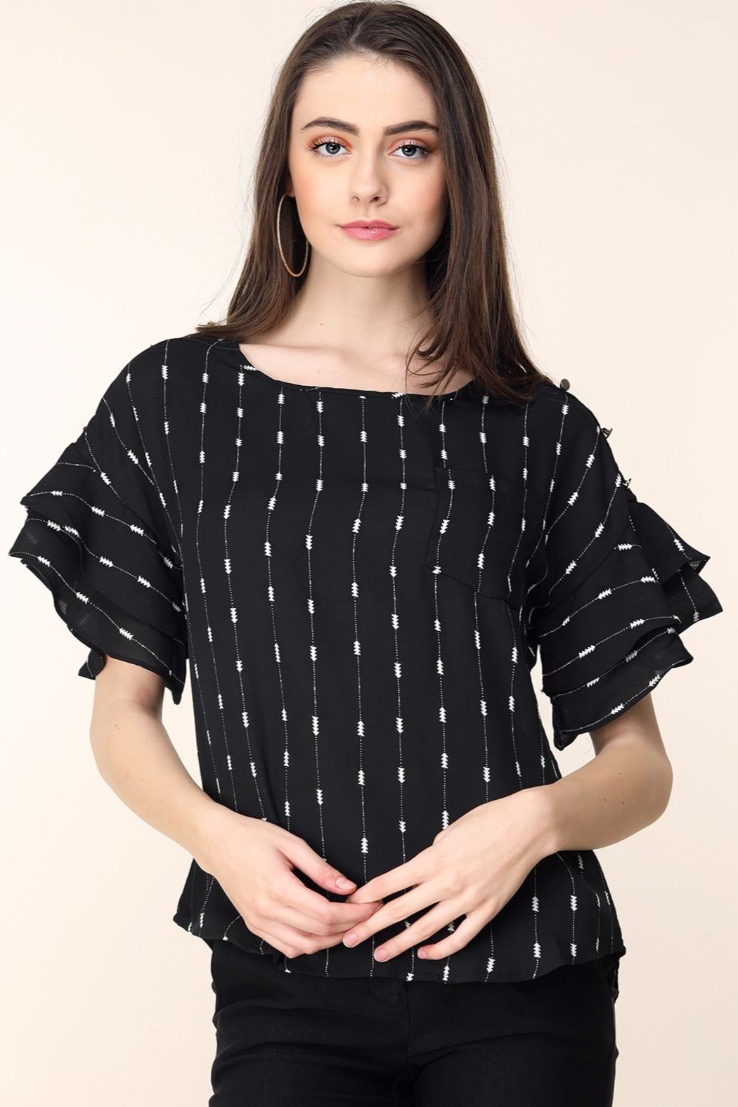 Mine Black Arrow Stripes Blouse - Main Image