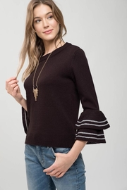Mine Black Tiered Sleeve Sweater - Front full body