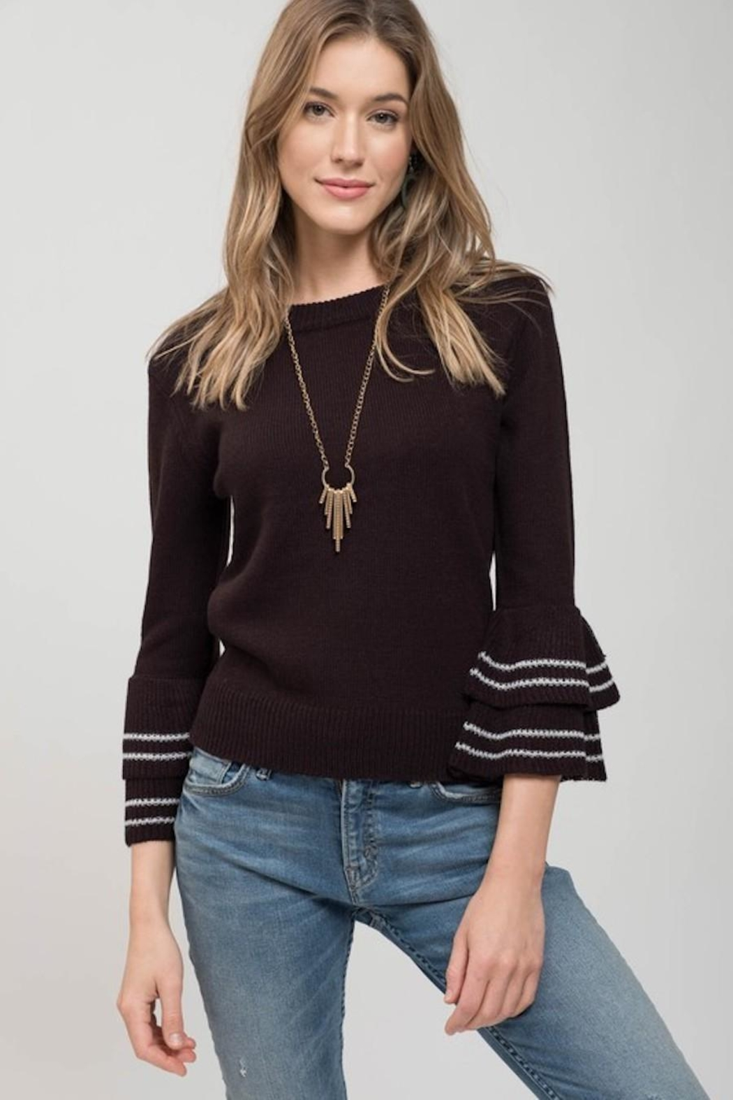 Mine Black Tiered Sleeve Sweater - Front Cropped Image