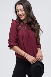 Mine Burgundy Lace Detail Blouse - Product Mini Image