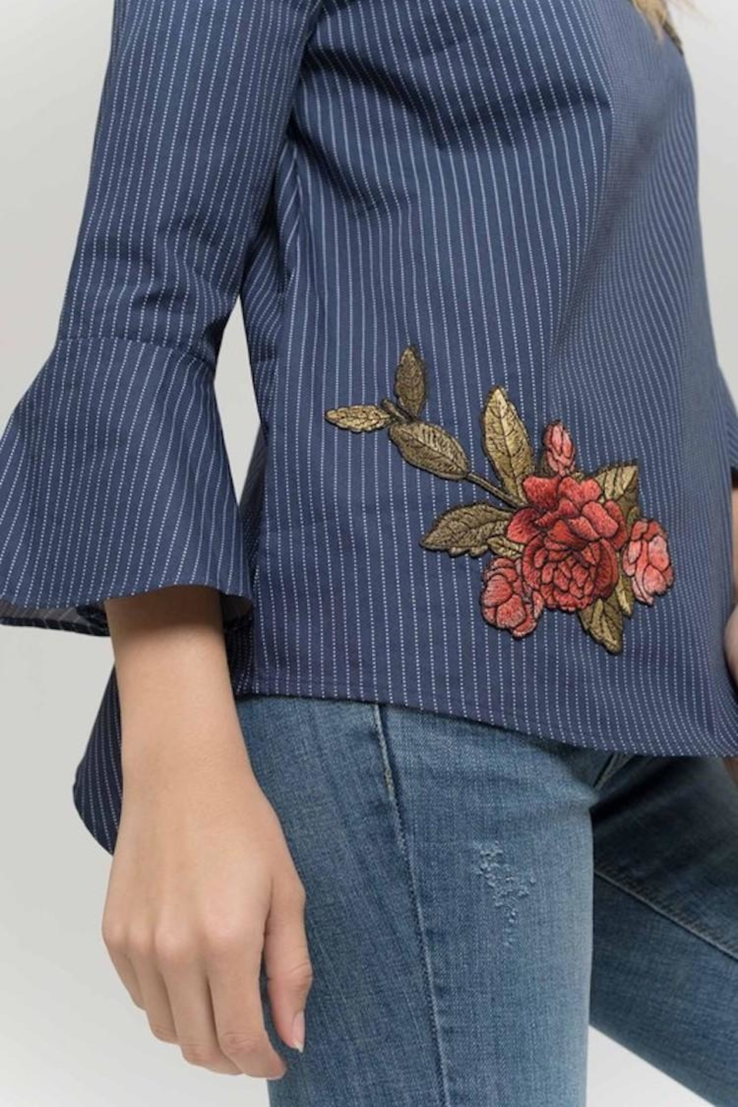 Mine Embroidered Navy Detail - Side Cropped Image