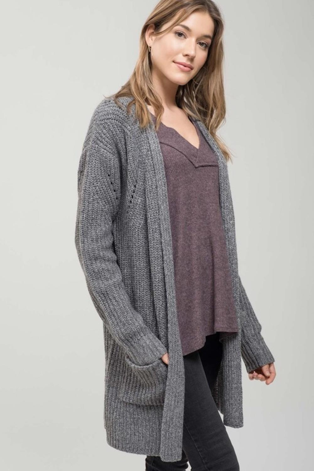 Mine Must Have Chunky Cardigan - Side Cropped Image