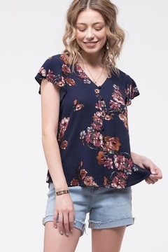 Mine Navy Floral Button-Up - Product List Image