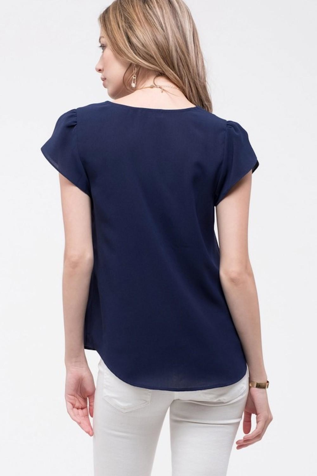 Mine Navy Scalloped Blouse - Side Cropped Image
