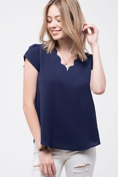 Mine Navy Scalloped Blouse - Product List Image