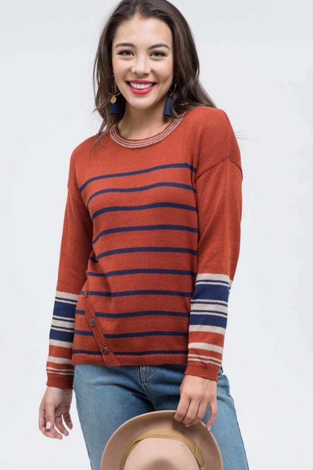 Mine Striped Knit Sweater - Front Cropped Image