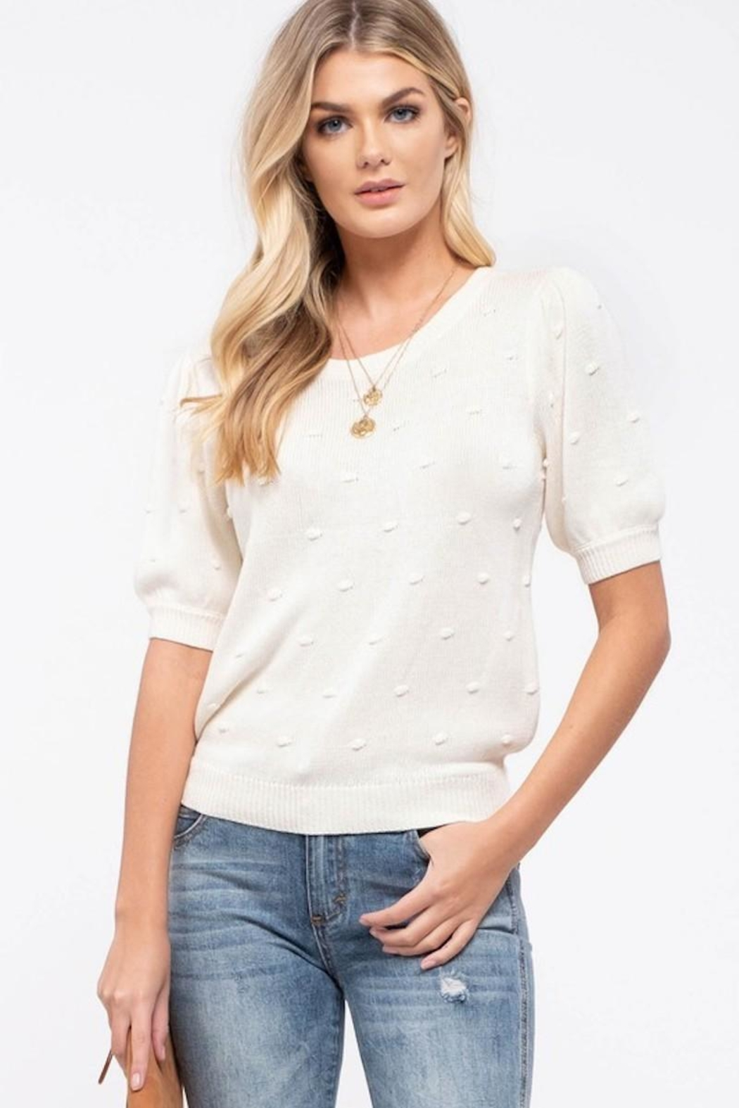Mine Swiss Dot & Puff Sleeve Sweater - Front Cropped Image