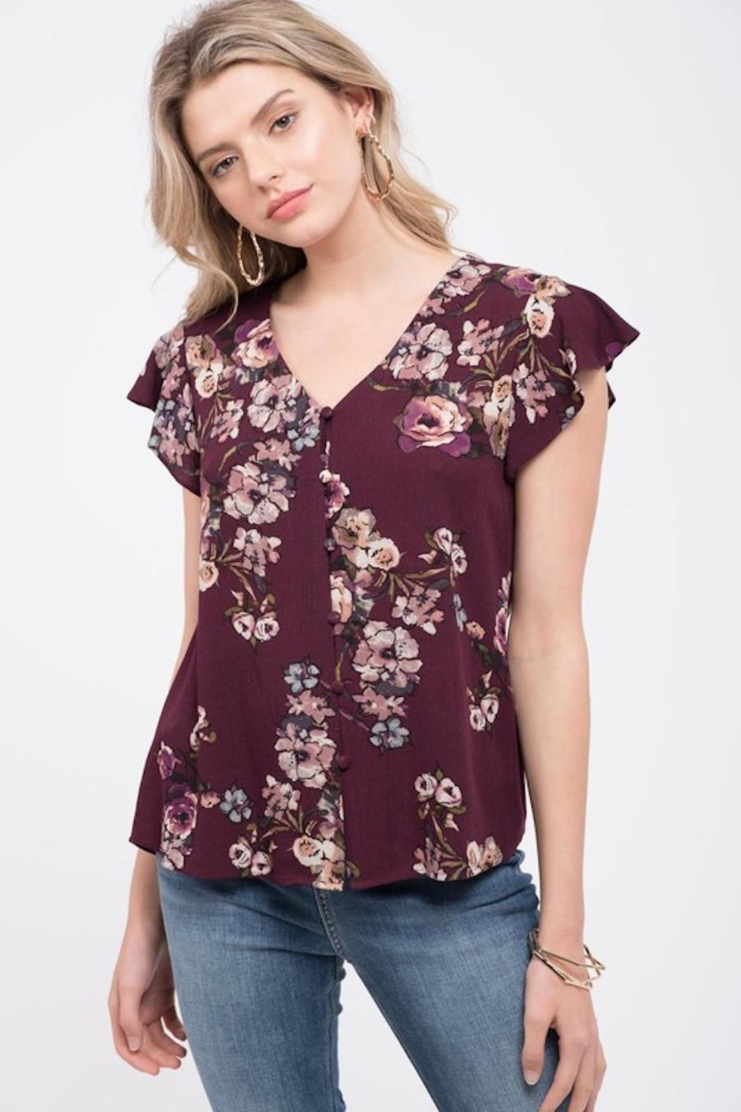 Mine Wine Floral Blouse - Front Full Image