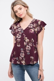 Mine Wine Floral Blouse - Front full body