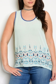 Mine Too Mint-Navy Embroider Tank - Product Mini Image