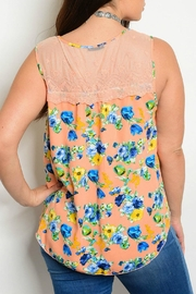 Mine Too Orange Floral Tank Top - Front full body
