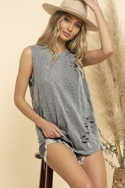 Blue Buttercup Mineral Dye Distressed Sleeveless Tank - Product Mini Image